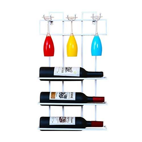 Loft Wall-mounted Shelf Metal Iron Wall Hanging Storage Wine Racks Wine Bottle And Glasses Holder Frame Wine Stemware Holder Goblets Rack - 35 9 60cm Color  White