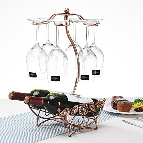 BAIXI Tabletop Wine Cup Rack Stemware Glass Storage Holder Wine Glass Rack 6 Hooks Metal Wine Cup Rack Stemware Glass Storage Organizer Air Drying Rose gold