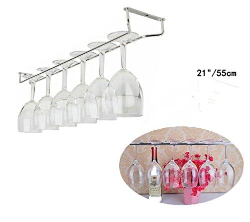 Jia Jia Trade 10 ″13 ″21 ″Chrome Wine Rack Glass Holder Hanging Kitchen Bar Hanger-Wine Champagne Glass Cup Rack Holder Stemware Racks 21 ″