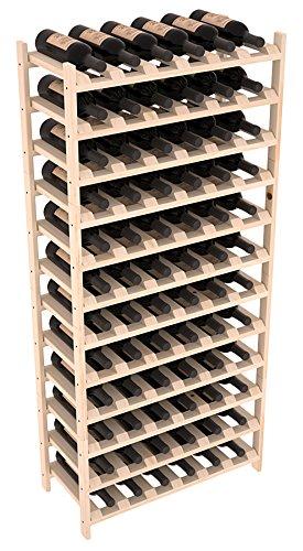 Wine Racks America Pine 72 Bottle Stackable Unstained