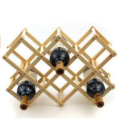 Hankcares Portable Wooden Foldable Diamond-Shape 8 Bottle Wine Rack Display for KitchenDinning RoomResting Room