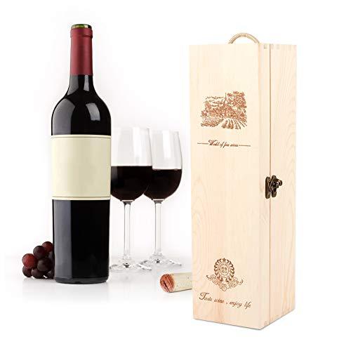 Fishlor Wine Gift Box Retro Exquisite Wine Box 138 Red Wine Storage Box Portable Gift Box Wine Bottle Carrying Case