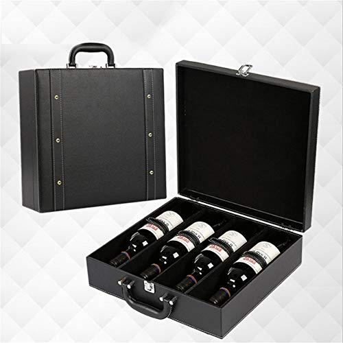 Hand-held Portable Wine Box Top Shelf Wine Tour Operators Horizontal Champagne Wine Storage Box Gift Box 4 Bottles Housewarming Gift Wedding Anniversary Birthday Party Gift Box for Wine