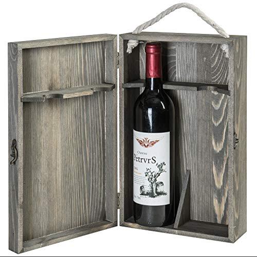 MyGift 2-Bottle Vintage Grey Wine Storage Box with Locking Latch Rope Handle