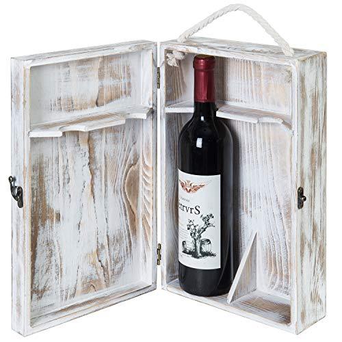 MyGift 2-Bottle White Washed Wine Storage Box with Locking Latch Rope Handle