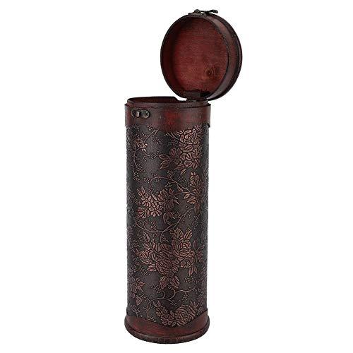 Red Wine Box Portable Wood Wine Box Vintage Round Wood Single Red Wine Storage Box with Handle Retro Gift Wine Storage Box