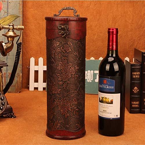 Wine Storage Box Red Wine Box Solid Wood Wine Holder Flower Print Wood Craft for Birthday Wedding Wine Holders
