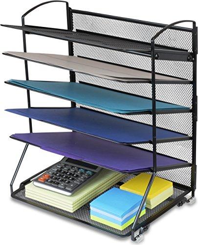 SimpleHouseware 6 Trays Desktop Document Letter Tray Organizer Black