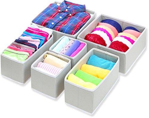 SimpleHouseware Foldable Cloth Storage Box Closet Dresser Drawer Divider Organizer Basket Bins for Underwear Bras Gray Set of 6