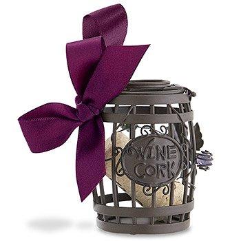 Wine Barrel Cork Cage Ornament w Satin Bow