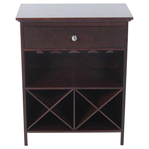 Briarwood Home Decor Dark Walnut Solid Wood Wine Storage Table