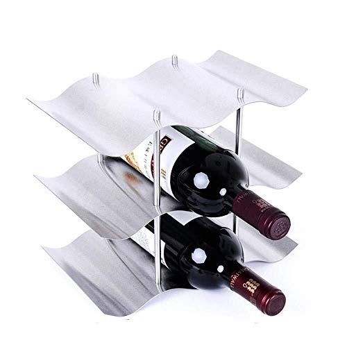 EL-LZWH 9-Bottle Wine Rack Free-Standing Wine Display Stand Stainless Steel Wine Bottle Storage Shelf Space Saving Wine Holder Size  26x165x23cm