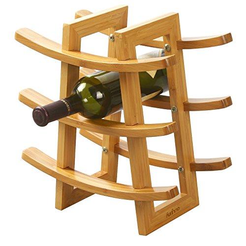 FURINNO Dapur Bamboo 9-Bottle Wine Rack Natural
