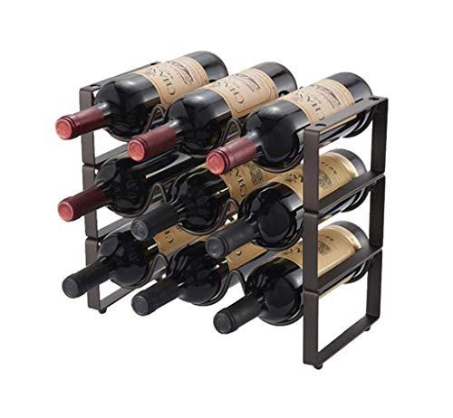 Giow 9 Bottles Wine Rack 3-Tier Combination Frame Iron Art Floor-Standing Display Stand Wine Bottle Holder Rack