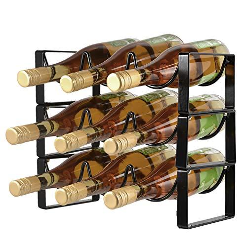 POPKU 9-Bottles Wine Rack 3 Tier Stackable Countertop Cabinet Wine Holder Storage Stand - Metal Bronze