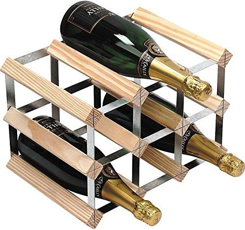 RTA 9 Bottle Traditional Wooden Wine Rack Self Assemble Kit - Natural Pine Wood  Galvanised Steel - 3 x 2