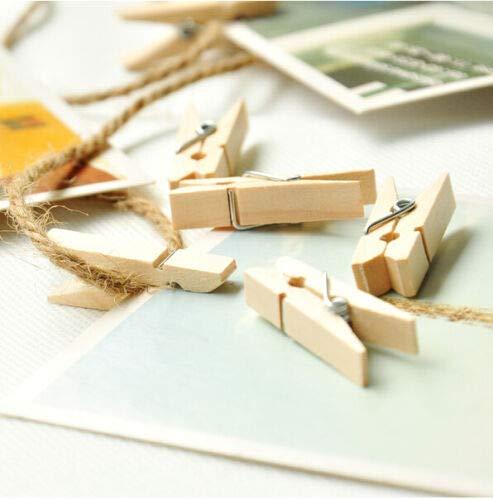 FidgetKute DIY 100 Natural Decking Mini Wooden Clothe Photo Paper Peg Clothespin 45CM 50PCS