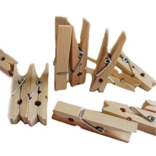 ULTNICE 48cm Mini Wooden Clothespin Photo Craft Clips - 100pcs
