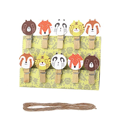 Vpang 50 Pcs Mini Natural Wooden Cartoon Animals Clothespins Photo Paper Card Peg Pin Craft Clips with Jute Twine