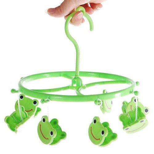 CynKen 8pcs Cute Cartoon Frog Plastic Clothes Peg Clip Hanger