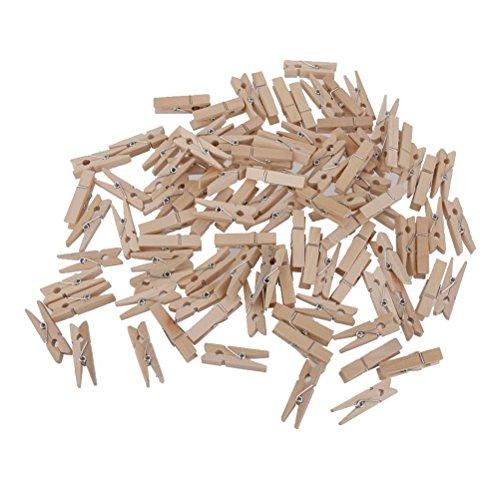 NUOLUX Clothespin Craft Clips Mini Natural Wooden Clothe Photo Paper Peg 35cm 100pcs
