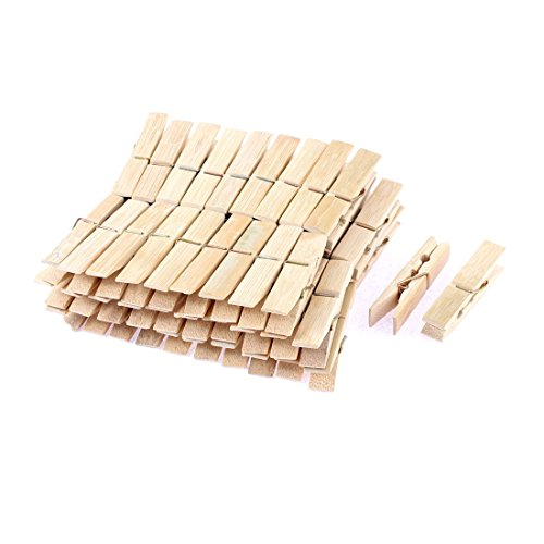 uxcell Wooden Photos Paper Laundry Hanging Clothes Pins 60mm Length 60pcs