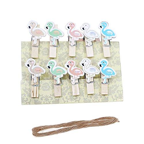 Vpang 50 Pcs Mini Natural Wooden Lovely Cartoon Clothespins Photo Paper Card Peg Pin Craft Clips with Jute Twine Flamingo