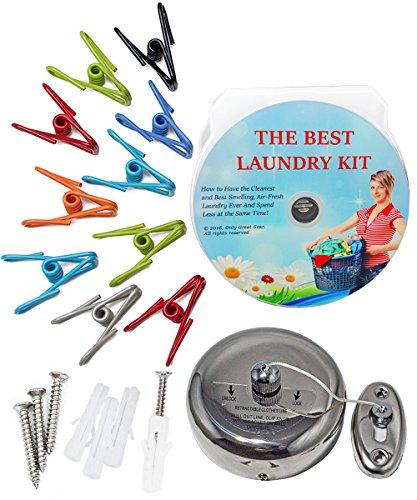 Best DIY Laundry Secrets Kit Weatherproof Metal Clothespins Indoor Outdoor Stainless Steel Retractable Clothesline Installation Instructions  Audio CD - DIY Tips -Save Money on Soap Softeners etc