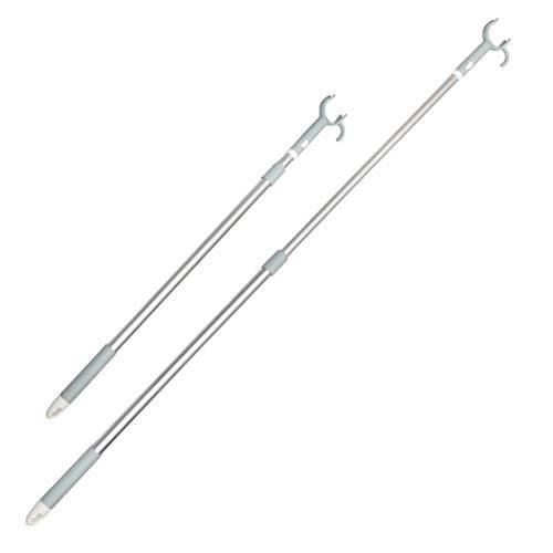 Poplarbox Retractable Reach Sticks 4567 Telescoping Closet Pole Adjustable Clothesline Pole with Utility Hook Blue