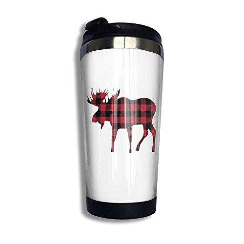 Buffalo Plaid Moose Lumberjack Red Black Thermoses Vacuum Insulated Stainless Steel Travel Mug 1356oz