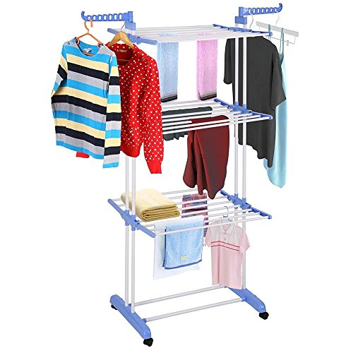 Triprel Inc 3-Tier Laundry Clothes Drying Rack Foldable Airer - Blue