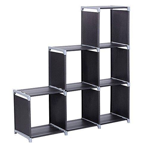 Cube Storage Organizer6 Cube Closet Rack Organizer Shelves Book Shelf Plastic Closet Storage Cabinet Bookcase for Bedroom Office Living Room-3 Tiers 6 Compartments Black