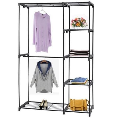 Portable Closet Storage Portable Clothes Rack Wardrobe Organizer Hanger Garment