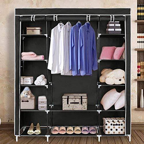 Blissun 59 Portable Clothes Closet Non-Woven Fabric Wardrobe Storage Organizer Black
