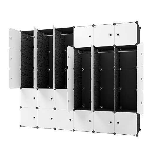 KOUSI Portable Wardrobe Closets 14x18 Depth Cube Storage Bedroom Armoire Storage Organizer with Doors 12 Cubes  6 Hangers