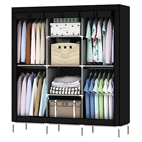 OUMYJIA 69 inches Non-Woven Fabric Wardrobe Portable Clothes Closet Storage Organizer 51 x 175 x 69 inches Black