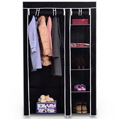 Tangkula 69 Portable Closet Storage Organizer Clothes Wardrobe Shoe Rack W6 Shelves Black