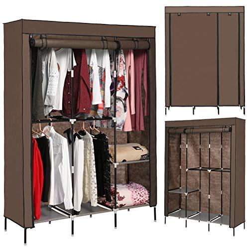 emdaot Portable Clothes Closet Organizer Wardrobe with Double Rod Shelves Freestanding Storage Wardrobe Coffee