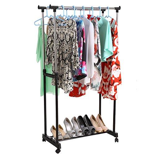 Tinffy Portable Adjustable Double Clothes Garment Drying Hanging Racks Hangers with Castors and Shoe Rack Garment Racks US Stock