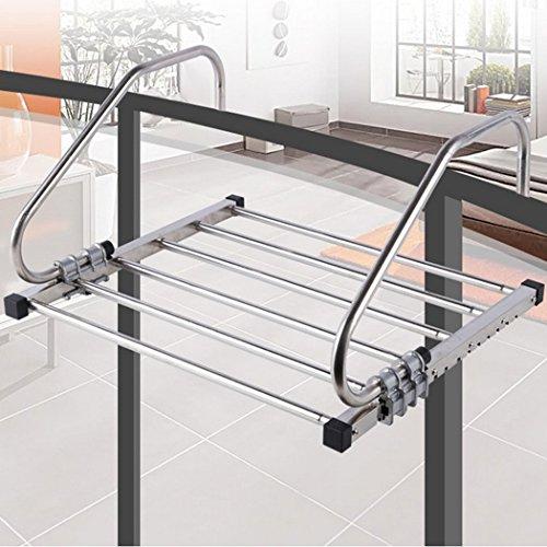 Asunflower Handrail Rod Clothes Drying Rack Adjustable Balcony Towel Garment Hanger Folding Space Saver
