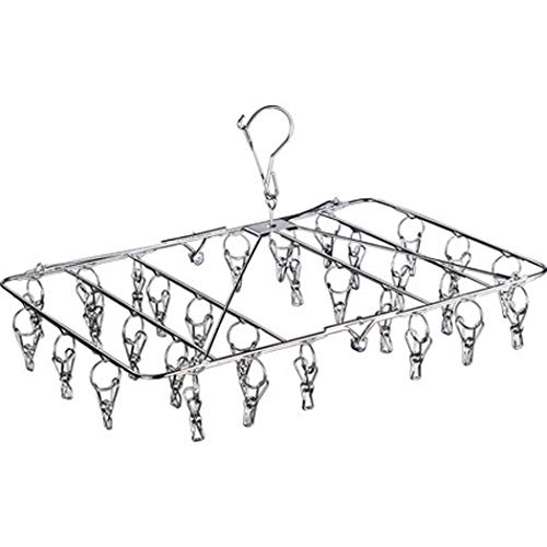 XMZFQ Stainless Steel Laundry Hanging Rack Windproof Hook Foldable Clothes Drying Rack with 30 Clips Clothes Hanger for Drying Socks Underwear Towels