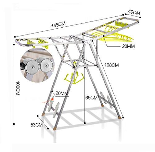 Indoor Drying RackStainless Steel Double PoleFolding Floor Drying Rack Style  3