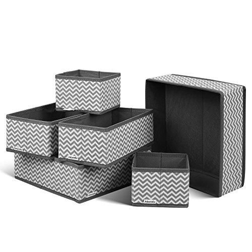 HOMFA Closet Drawer Organizer Foldable Fabric Cloth Storage Cubes Basket for Underwear Bras Socks 6 Pack Stripe