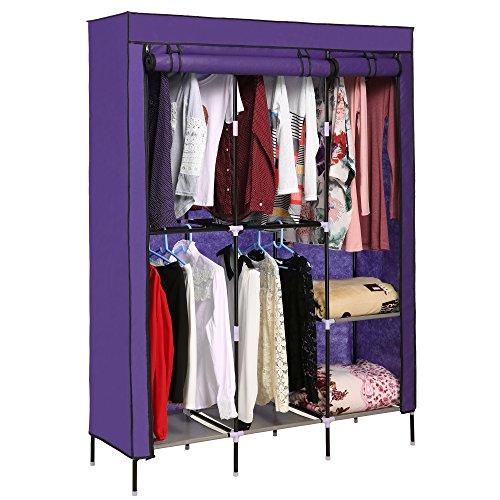 Eshion 68 Clothes Closet Portable Wardrobe Storage Organizer with Shelves Purple