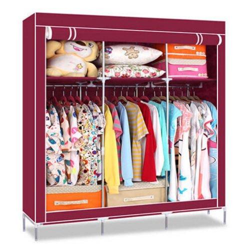 Generic New Portable Wardrobe Closet Clothing Storage Organizer Garment Hanger Rack Hot