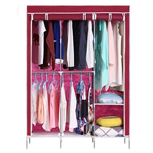 Jaketen Home DIY Portable Closet Storage Organizer Wardrobe Clothes Rack With Hanger Wine Red