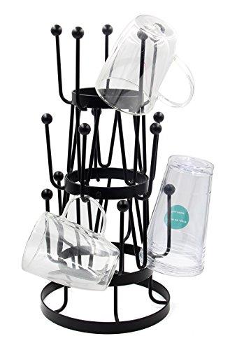 PAG Metal Mug Tree Organizer Coffee Cup Holder Drying Rack 15 Hooks Black