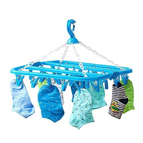 Drasawee Foldable Anti Slip 32 Clips Underwear Towels Socks Laundry Clothes Hanger Blue