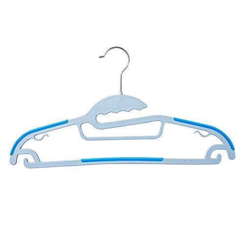 Efivs Arts Dry Wet Clothes Hangers Plastic Hanger Blue Non-slip Shoulder Design Steel Swivel Hooks 10