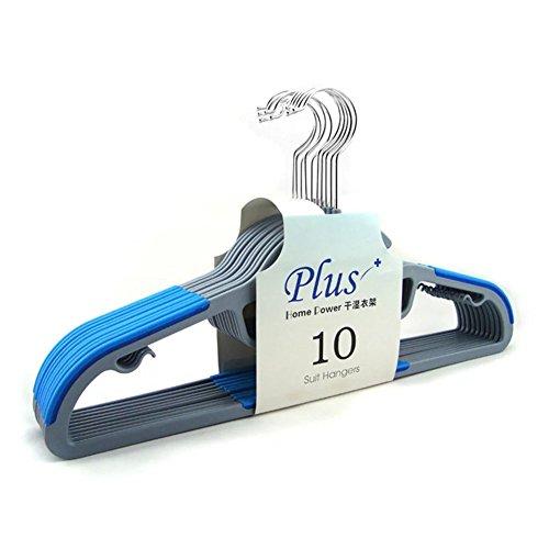 XHSP 10 pack Dry Wet Clothes Hangers Amphibious with non-slip Shoulder Design Steel Swivel Hooks
